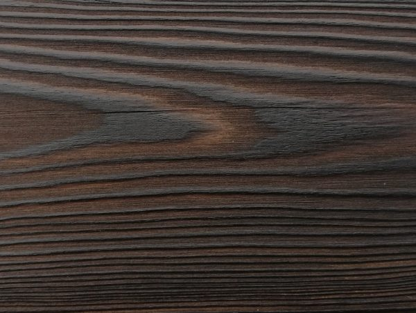 Close up of charred timber cladding - charred level: Dusk