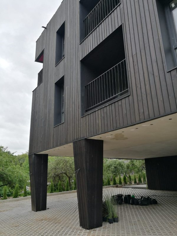 Charred timber cladding