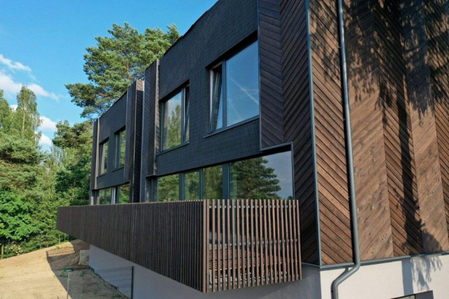 Building with charred timber cladding