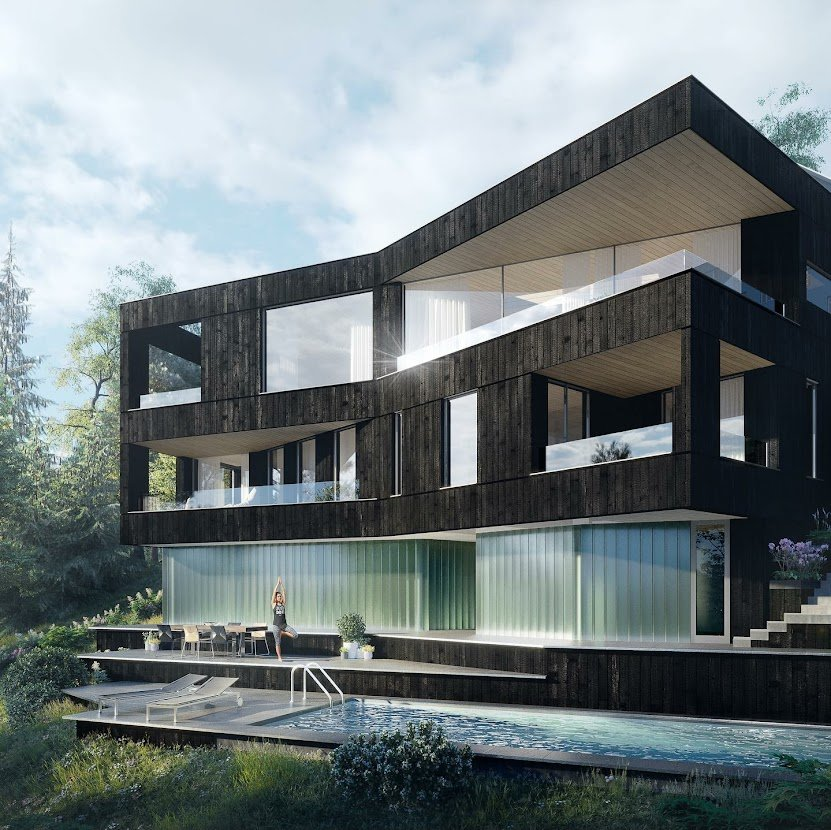 Building with charred timber cladding, person doing yoga and swimming pool