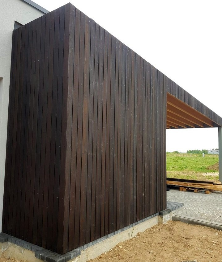 PermaChar Charred Timber Cladding on building - Char level: Dusk