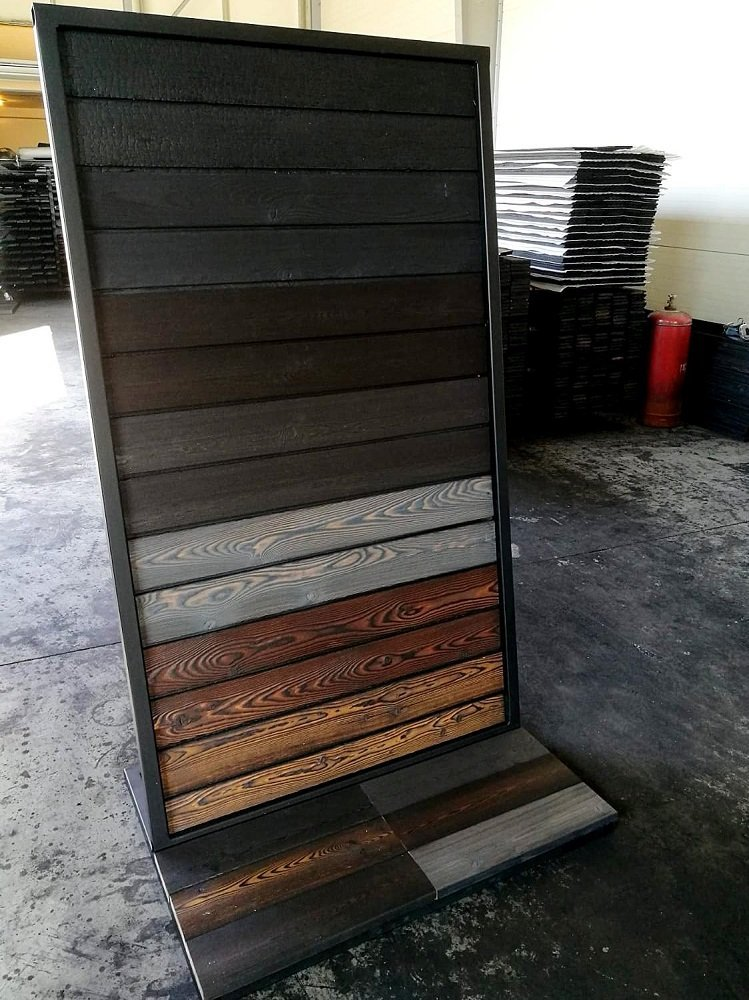 PermaChar's charred timber cladding char level and colour board